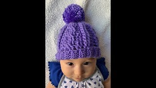 Crochet Baby Cable Hat - 0-3 months