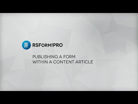 Episode 3 : Joomla! Form inside article - RSForm!Pro