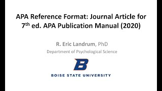 APA Reference Format for Journal Articles -- 7th ed. APA Publication Manual Style (2020)