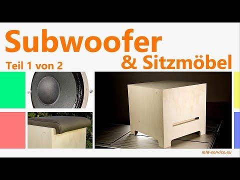 Subwoofer selber bauen Bassbox als Sitzmöbel mit aktiv Lautsprecher für Heimkino Soundsystem HiFi #1