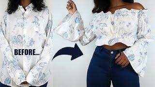 DIY Off The Shoulder Bell Sleeve Top | Mens Shirt Refashion