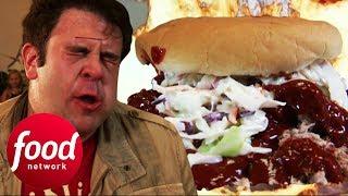 Seriously Hot Pulled Pork Burger Leaves Adam Speechless   Man v Food