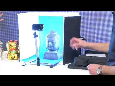Somikon Professionelle Foto-Studio-Box inkl. 2 Fotolampen und Stativ