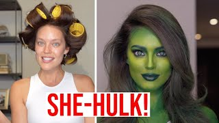 SHE-HULK TRANSFORMATION! Halloween Makeup Tutorial With Erin Parsons + Emily DiDonato