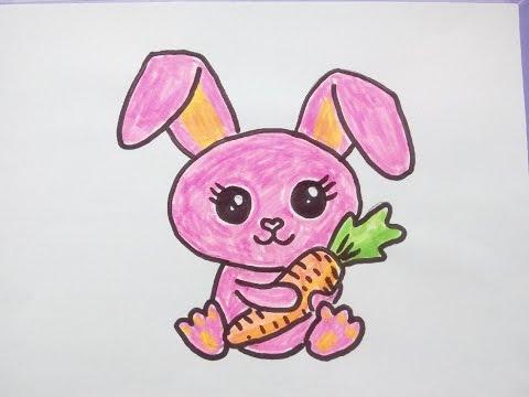 Kawaii Bilder Tutorial: Ein Kaninchen (Hase) malen. Zeichnen lernen für Anfänger
