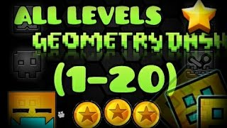 All levels Geometry Dash 1-20 [100%] [All Coins]