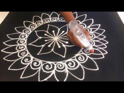 rangoli design * quick & easy free hand rangoli design for festival * simple & easy rangoli by Gauri