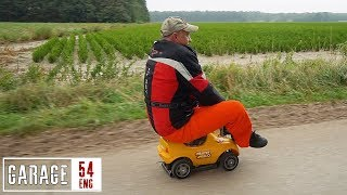 Driving a toy car at 50 km/h