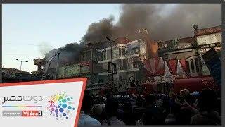 حريق الموسكى .. شاهد تزايد ألسنة اللهب بشكل كبير