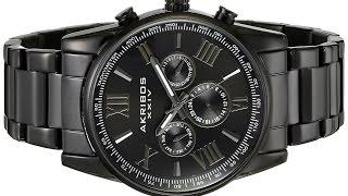 Akribos XXIV Men's Round Black Radiant Sunburst Dial Two Time Zone Quartz Bracelet Watch