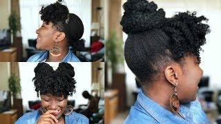 Curly Bangs Topknot High Bun Natural Hair
