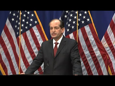 "Labor Secretary Alex Acosta held a news conference Wednesday to defend his handling of a sex-trafficking case involving now-jailed financier Jeffrey Epstein saying he tried to avoid a deal allowing the wealthy financier to ""walk free."" (July 10)"