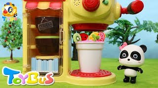 Baby Panda Makes Colorful Drinks | Play Doh for Kids | Cooking Pretend Play | Toy Kitchen | ToyBus