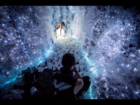 art installation cave using plastic by von wong
