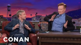 Martin Freeman Makes Conan Do His Terrible British Accent  - CONAN On TBS
