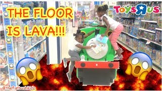THE FLOOR IS LAVA CHALLENGE AT TOYS R US!!!