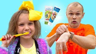 Katy and Max Brush teeth and Go to school kids songs   Nursery rhymes