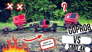 """Gopro 8 vs SMO 4K (apex 5"""" raw + hypersmooth v2 vs micro apex 3"""" raw + stab FPV)"""