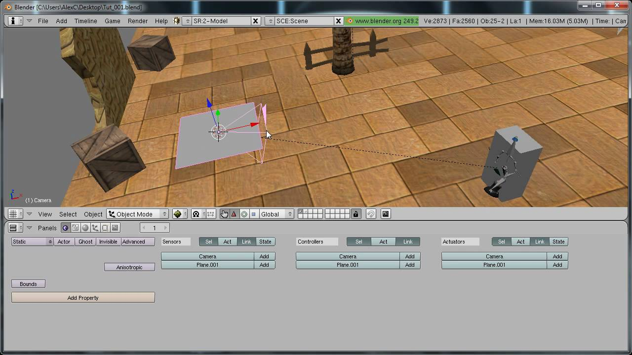 Blender tutorial - Rotating around and zooming towards your character in blender game engine part 1