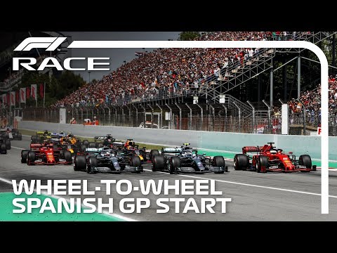 Hamilton, Bottas, Vettel Wheel-To-Wheel At The Start | 2019 Spanish Grand Prix