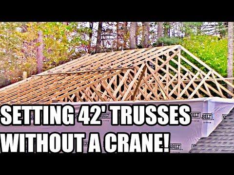 Part 8: Dream Garage Build - 42' Trusses Placed WITHOUT a Crane!