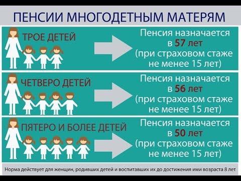 Женщины с тремя и четырьмя детьми начнут выходить на пенсию досрочно