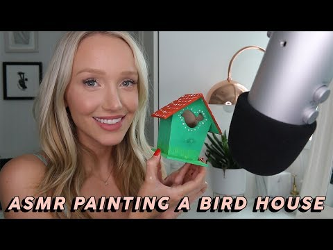 ASMR Painting A Bird House Part 2! (Brush Strokes & Wood Tapping Triggers)   GwenGwiz