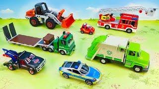 Пожарная и полицейская машина Эвакуатор Трактор Мусоровоз Fire and police vehicle Tow truck for kids