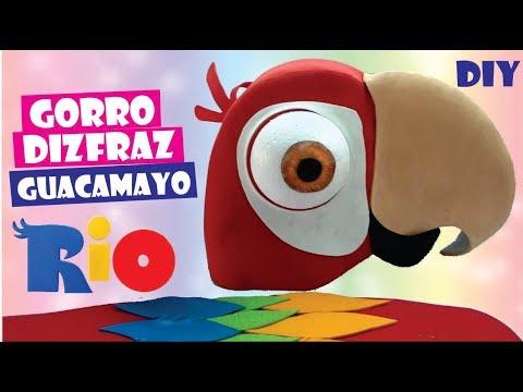 DIY GORRO, DISFRAZ CASERO DE GUACAMAYO  - Como hacer Gorro de Guacamayo para niño