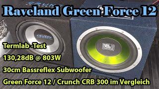 "Raveland Green Force 12 30cm Subwoofer 12"" Termlab Test 130,28dB an 803W  Opel Combo C Basskiste"