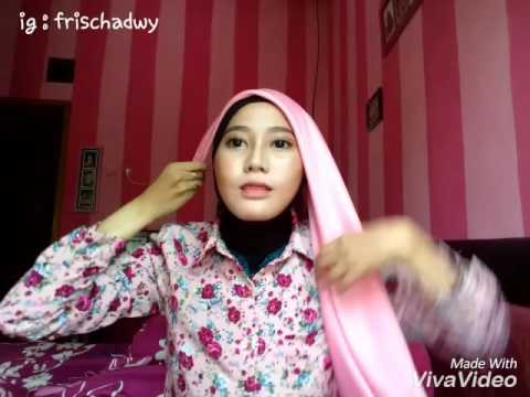 Video Tutorial hijab (segi empat) satin simple fasion-frischa dwy