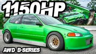"1150HP AWD B-series ""The Hulk"" Honda Civic + Sleeper 2JZ Swap Cressida 