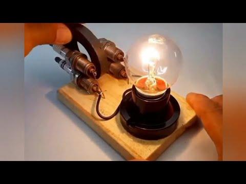 Лампочка горит от автомобильных свечей и магнита!
