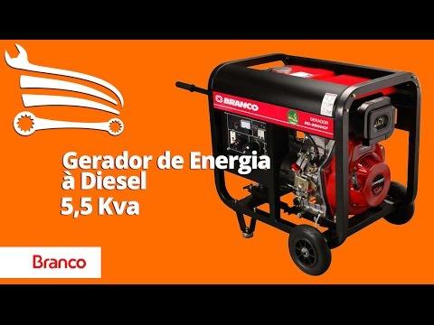 Gerador de Energia à Diesel Monofásico 5,5Kva 110/220V BD-6500 E - Video