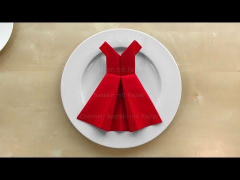 Servietten falten: Kleid 👗 Einfache Tischdeko basteln mit Papier-Servietten