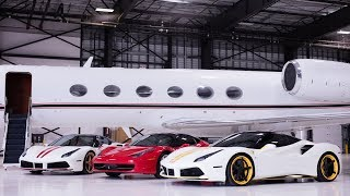 Three Ferraris, two models and a private jet!