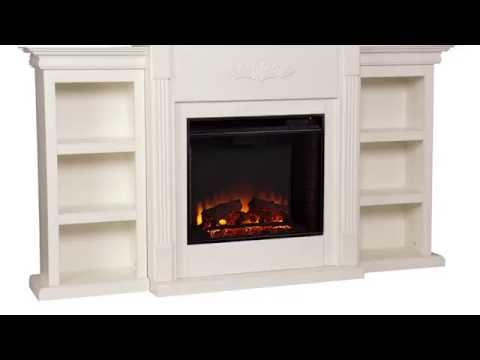 Video for Tennyson Ivory Electric Fireplace with Bookcases