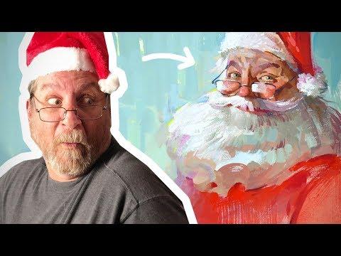 Painting Aaron Blaise as Santa Claus using Gouache