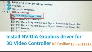 3D Video Controller driver for HP Pavilion 15 - au118TX Windows 10 Pro Version 1607