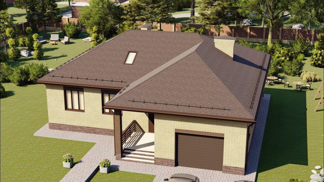 Проект 1 этажного дома с гаражом от Строительной компании Апрель