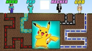 Minecraft - NOOB vs PRO vs HACKER vs GOD - MAZE TO PIKACHU Battle Challenge! Minecraft Animation!