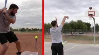 Can I Hit 10 Home Runs Before I Make 10 Free Throws? IRL Sports Challenge