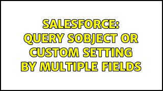 Salesforce: query sObject or Custom setting by multiple fields