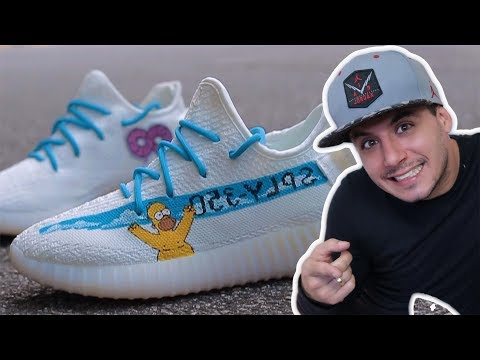 Customizando tênis gastando pouco ADIDAS YEEZY BOOST 350 V2 Branco | THE SIMPSONS