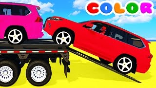 COLOR SUV CARS Transportation and Spiderman Cartoon for babies w Bus Superheroes for kids!