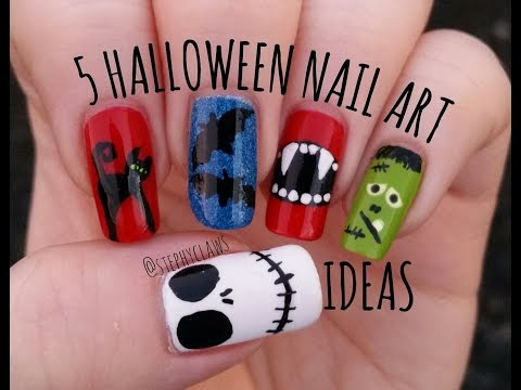 Simple Mix & Match Halloween Nail Art Tutorial. 5 Easy Halloween Nail Ideas | Stephyclaws