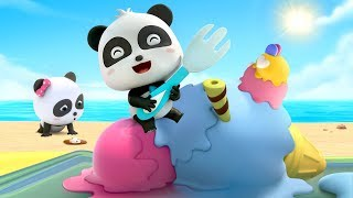 Ten Big Ice Creams on the Beach | Little Panda Chef | How to Make Ice Creams & Cakes | BabyBus