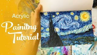 Acrylic Painting Tutorial - Starry Night by Van Gogh