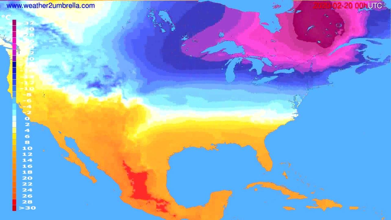 Temperature forecast USA & Canada // modelrun: 00h UTC 2020-02-19