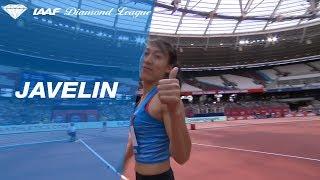 Huihui Lyu 65.54m - winning javelin throw London 2018